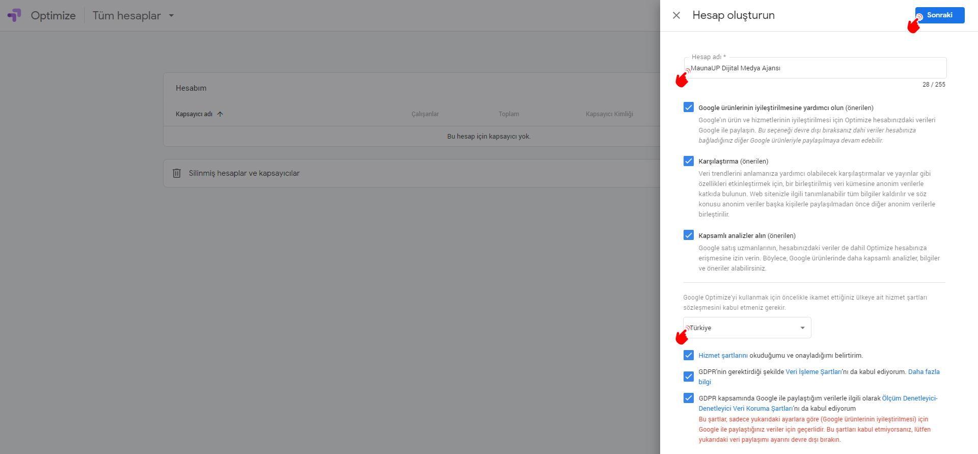 Google Optimize Kurulumu: Hesap Oluşturma-2