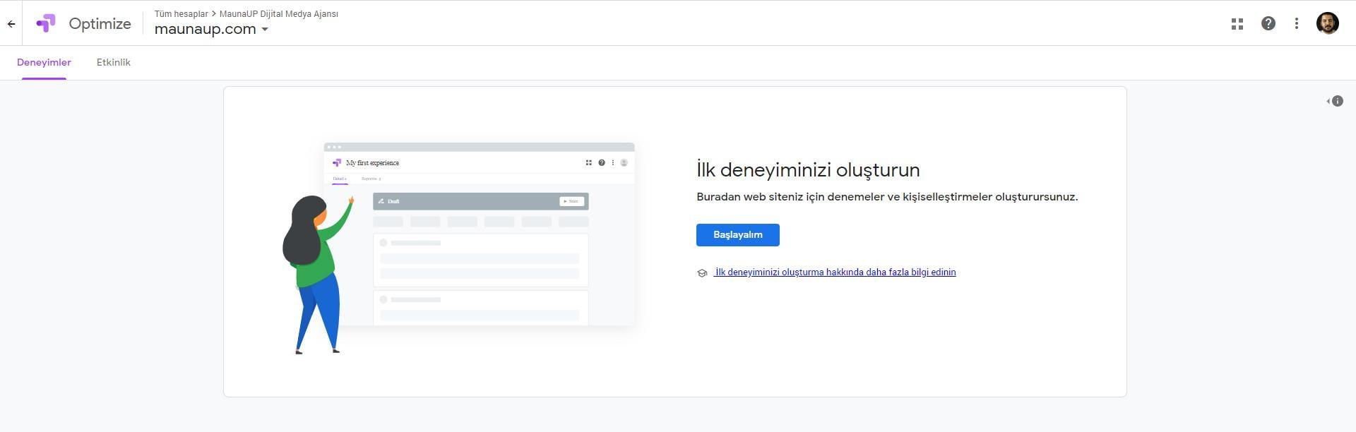 Google Optimize Kurulumu: Hesap Oluşturma-4